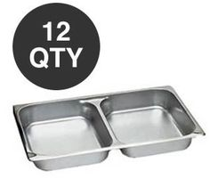 WHOLESALE CONTINENTAL CHAFER DIVIDED FOOD PANS - 12 QTY by overstockedkitchen. $199.95