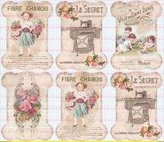 Vintage French Labels - they look like thread bobbin templates Decoupage Vintage, Vintage Diy, Papel Vintage, Images Vintage, Decoupage Paper, Vintage Tags, Vintage Labels, Vintage Shabby Chic, Vintage Pictures