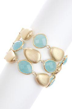 18K Gold Clad 3-Row Faceted Caribbean Blue Quartzite & Satin Pebble Toggle Bracelet on HauteLook