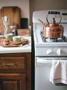 cozy kitchen and a copper kettle