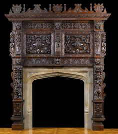 Richley carved Jacobean oak chimneypiece and overmantel.The later carved top rail ornamented with three protruding cartouches centred by shields carved with the letters P.D., E.D 1617.