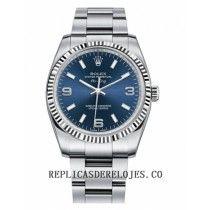 Rolex Air-King esfera de oro blanco Bisel acanalado azul reloj 114234 BLAO