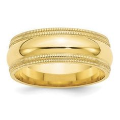 8MM Double Milgrain Edge Comfort Fit Wedding Band In 10K Yellow Gold Gemologica.com offers a large selection of wedding bands in 10K and 14K yellow and white gold for men and women. We have styles including comfort fit, half round edges, flat edges, flat comfort fit, flat step down edge, half round with milgrain, plain, classic, antique style and bevel edge. Our complete collection of gold wedding rings jewelry: www.gemologica.com/mens-gold-wedding-bands-c-28_46_316_320.html