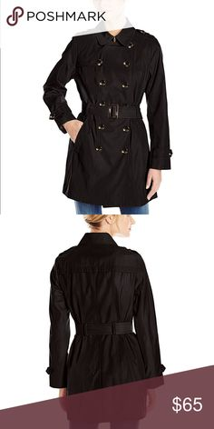 Jones New York Women's Double-Breasted Trench Coat Super cute and warm black trench coat by Jones New York. Excellent condition - worn once! Soft, warm cheetah print lining on the inside. Size Medium. Happy poshing 🎀 Jones New York Jackets & Coats Trench Coats