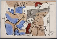 Le Corbusier (Charles-Edouard Jeanneret): Chute de Barcelona (The Fall of Barcelona [Study for Lithography])
