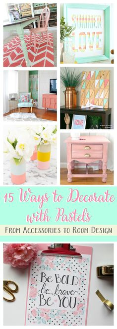 The Crafted Collective: 15 Ways to Decorate with Pastels--From accessories to room design, these features will show you how to successfully use pastels in your home. pitterandglink.com