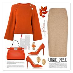"""""""Orange and Beige"""" by terry-tlc ❤ liked on Polyvore featuring Fendi, Winser London, Vanessa Bruno, L.K.Bennett, Tory Burch and Marika"""