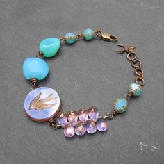 Swallow bracelet bird bracelet summer colors bracelet by BeadyDaze, £18.50