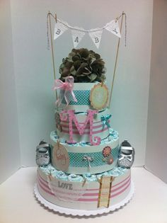 scrappy shabby-chic, teal & pink diaper cake