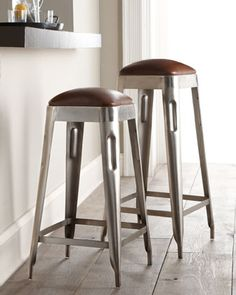 """Industrial"" Stools by Sarreid at Horchow."