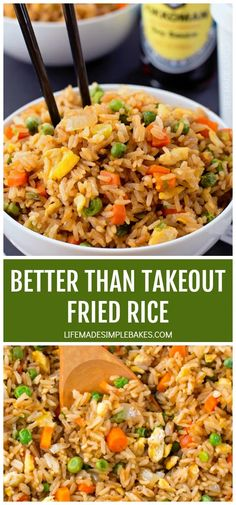 There's no need to order out! This better than takeout fried rice is ready to go in just 20 minutes! There's no need to order out! This better than takeout fried rice is ready to go in just 20 minutes! Homemade Fried Rice, Quick Fried Rice, Healthy Fried Rice, Simple Fried Rice, Vegetarian Fried Rice, Minute Rice Fried Rice Recipe, Simple Rice Dishes, Fried Rice Recipe Egg, Fried Rice Recipe Chinese