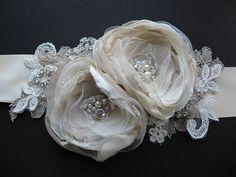Bridal sash wedding floral lace rhinestone sash by LeFlowers, $92.00