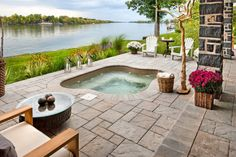 built in hot tub with brown tiles pavers of Hot Tubs in the Best Place to Relax