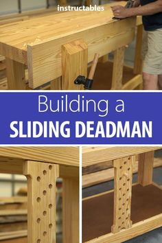 Add a sliding deadman to your workbench It is very useful when hand planing the edges of long boards ts fairly easy to build and can be made from a 4 long 2 x 8 board and. Woodworking Hand Tools, Woodworking Workshop, Woodworking Techniques, Woodworking Projects Diy, Woodworking Bench, Woodworking Tools, Wood Projects, Woodshop Tools, Woodworking Articles