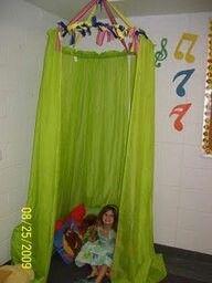 Reading tent using hula hoop, ribbon & curtain!
