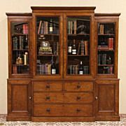 Victorian Antique 1880 Breakfront Library Bookcase--love this as a china cabinet in the dining room