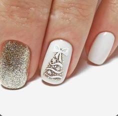 Colorful nails Cute colorful nails Gold nail art Interesting nails Multi-color nails Nails with fir-tree White nail art Winter nail art New Year's Nails, Fun Nails, Pretty Nails, Christmas Gel Nails, Holiday Nails, Gold Nail Art, Christmas Nail Art Designs, Nagel Gel, Stylish Nails