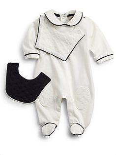 Armani Junior Infant's Three-Piece Footie & Bibs Set