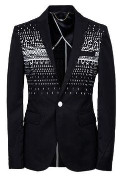 WOW! Geometric Black Blazer For Men -  THIS IS FASHION!