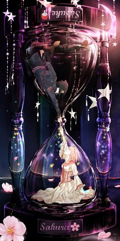 In a glass that's shaped like a gourd, the sand drops from the top to the bottom part showing the movement of time. It's the hourglass! Watching the grains of sand move smoothly from one part to the next... oh no, suddenly all your time disappeared! Today's Spotlight is all about putting characters inside of the hourglass... check them out!