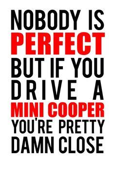 Nadie es perfecto pero si tú conduces un mini Cooper tú estás jodidamente cerca!
