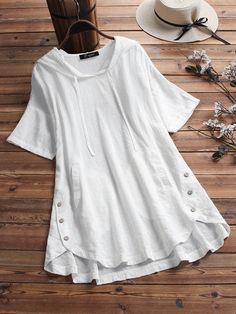 Plaid Button Hooded High Low Short Sleeve Plus Size Blouse with Pokcets Plus Size Shirts, Plus Size Blouses, Blouse Styles, Blouse Designs, Stylish Dresses, Casual Dresses, Kurti Designs Party Wear, Loose Shirts, Short Tops