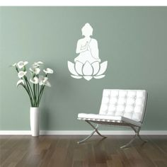 buddha and the sage green wall, love