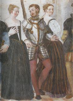 """Venetian Province of Vicenza, Republic of Venice    Giovanni Antonio Fasolo, c1565: """"The Dance"""" (Fresco detail)    Vicenza, Villa Caldogno"""