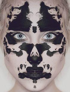Facing the Shadow Self (Rorschach ink blot make up) Maquillage Halloween, Halloween Face Makeup, Party In Berlin, Makeup Black, Rorschach Test, See Tattoo, Art Visage, Photo Portrait, Portrait Photography