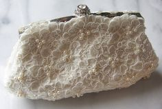 Ivory Lace Bridal Clutch With Hand Beaded Pearls