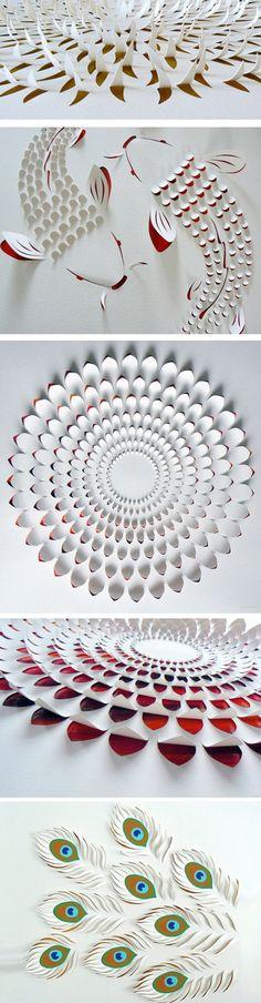 Esculturas feitar em folha de papel