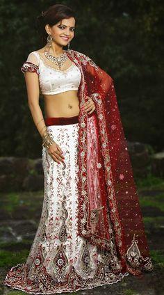 USD 562.32 White and Red Zardosi with Stone Work Bridal Lehenga Choli 27605
