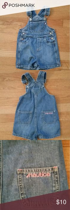 GIRLS 2T, NAUTICA  DENIM OVERALLS GIRLS 2T, 18-24 MONTHS, NAUTICA DENIM OVERALLS, WITH 2 BACK POCKETS WITH NAUTICA STITCHED IN PINK ON BACK AND PINK NAUTICA TAG ON FRONT POCKET, LIGHT DENIM. Nautica One Pieces