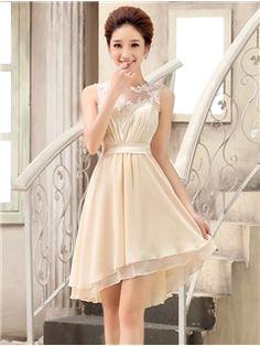 ジュエルネックシャンパンシフォンショートブライズメイドドレス