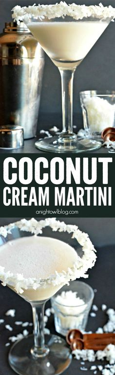 Coconut Cream Martini - a delicious and easy cocktail to make! Serve it up with a shaker and martini glass from #WorldMarket! #WorldMarketTribe