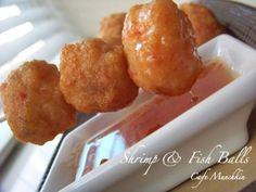 Shrimp and fish balls, Recipe Petitchef Pork And Beef Recipe, Beef Recipes, Cooking Recipes, Shrimp Balls, Chicken Balls, Appetizer Recipes, Snack Recipes, Appetizers, Snacks