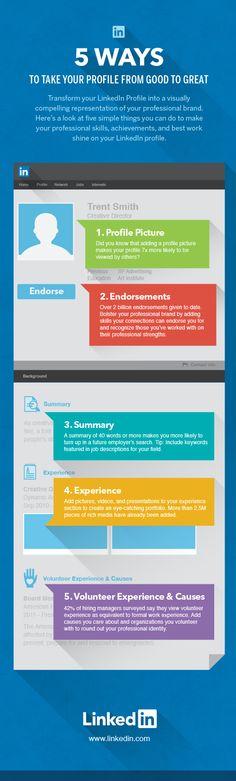 5 ways to take your profile from good to great Linkedin #infografia #infographic #socialmedia