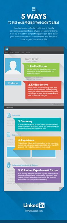 SOCIAL MEDIA (AP) -         5 ways to take your profile from good to great Linkedin.   #infographic #socialmedia