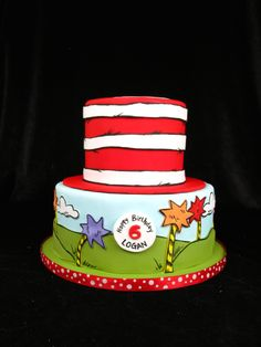 Dr. Seuss cake, thing 1 and thing 2, whoville, whovian cake, Horton Hears a Who, Cat in the hat cake