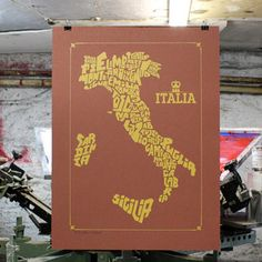 Italy Region Map 1 Color 18x24, $20, now featured on Fab.