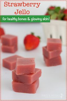 """Paleo Strawberry Jello for Healthy Bones and Glowing Skin - Get healthy strawberry jello recipe from """"The Gelatin Secret"""" and benefits of grass fed gelatin. Gelatin Recipes, Jello Recipes, Real Food Recipes, Snack Recipes, Cooking Recipes, Yummy Food, Vegan Gelatin, Beef Gelatin, Dessert Recipes"""