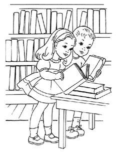 Bibliotheek Kleurplaat