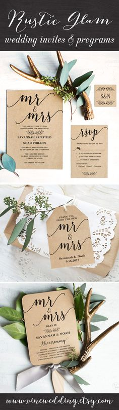 Beautiful rustic wedding invitations. Instant download templates you can print as many as you need. #wedding #invitations #vinewedding #diy #kraft #invitation #rustic #programs #fan