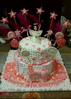 Fresh Cream Strawberry Cake. The image was provided by the client in which it was a fondant covered one. This is my fresh cream version . This lil girl wanted an angel themed cake. All edible handmade elements on the cake