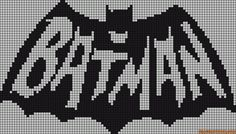 Batman perler bead pattern - easy convert to cross stitch! Beaded Cross Stitch, Cross Stitch Charts, Cross Stitch Embroidery, Cross Stitch Patterns, Perler Patterns, Loom Patterns, Beading Patterns, Crochet Chart, Filet Crochet