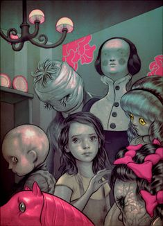 James Jean. Not into the hot pink and creepy dolls, but that little girl looks so sweet.