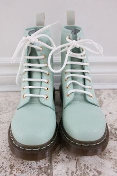 Boots like no others ! mint dr. martens. #boots #docmartens