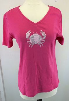 Nicole Miller New York Pink Crab Shirt Womens Size S Small Glitter Short Sleeve  #NicoleMiller #KnitTop #Casual