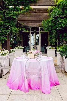 Ombre Weddings, dip dye table cloths, watercolor wedding ideas, watercolor tablecloth