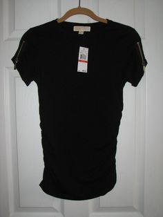 $69 NWT MICHAEL KORS logo zipper zip shoulder tee shirt top ruched side women XS